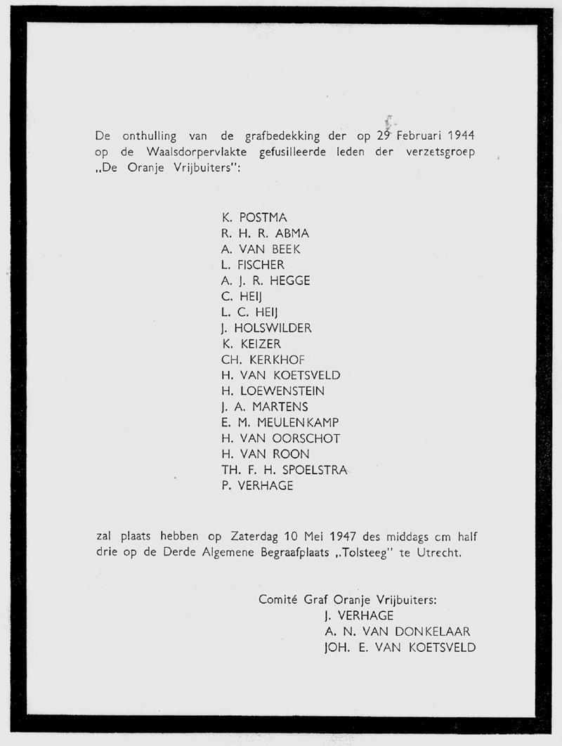 Oranje vrijbuiters Uitnoging onthulling grafbedekking Eregraf in 1947