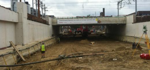 Werkzaamheden aan het spoorviaduct bij de Bleekstraat