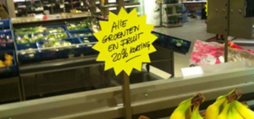 PLUS bananen in de aanbieding wegens aanstaande verbouwing