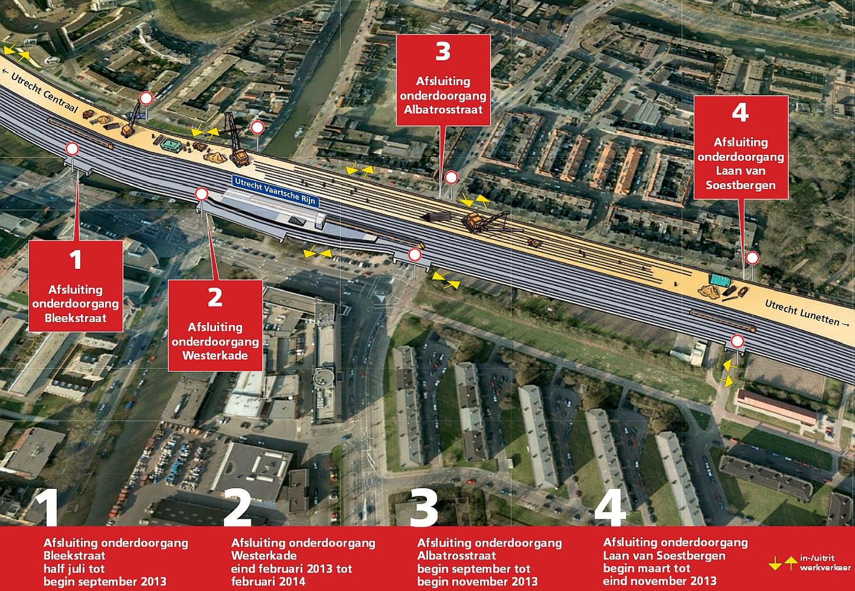 Routefolder afsluitingen ProRail Vaartsche Rijn eo 2e helft 2013