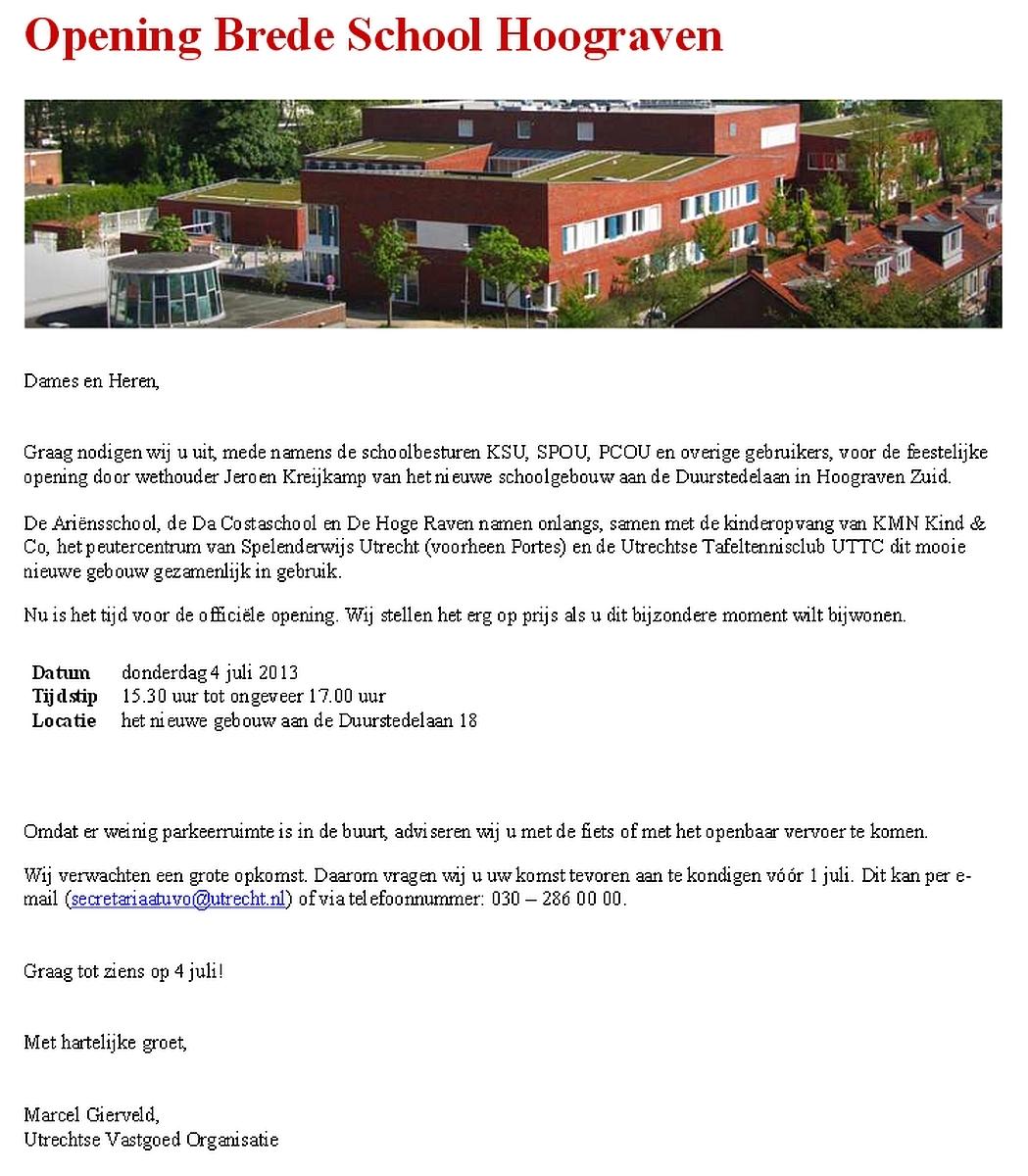 Uitnodiging Opening Bredeschool Hoograven