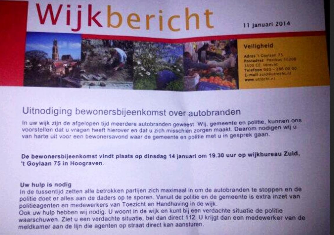 Bewonersbijeenkomst 14 jan Hoograven autobranden