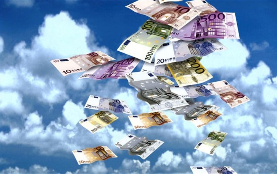 Euro biljetten in de lucht