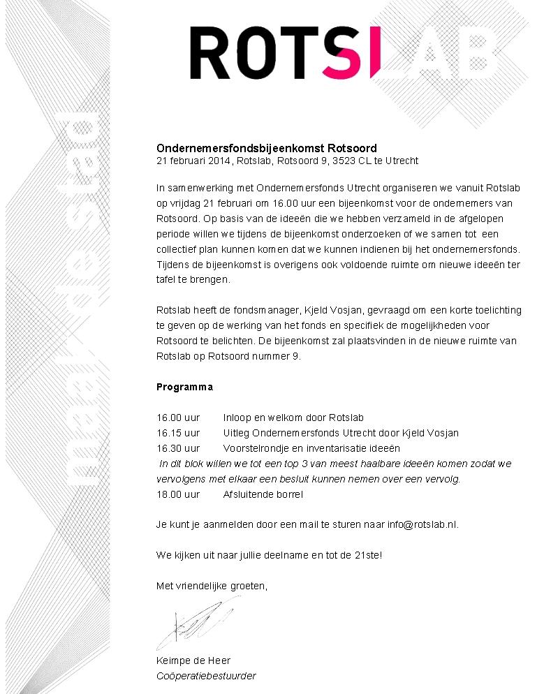 Rotslab Ondernemersfondsbijeenkomst