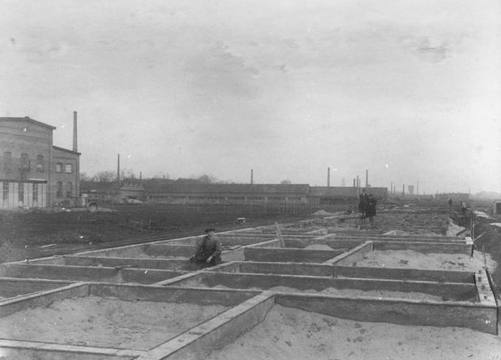 Bouw betonwoningen Hoograven-Zuid Achtergrond fabrieken aan de Vaartsche rijn